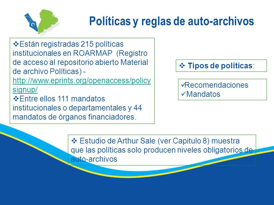 Políticas y reglas de auto-archivos Están registradas 215 políticas institucionales en ROARMAP (Registro de acceso al repositorio abierto Material de