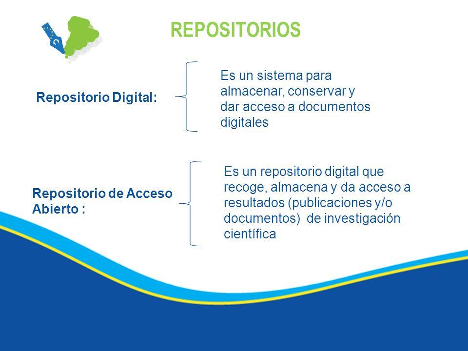 REPOSITORIOS Repositorio Digital: Es un sistema para almacenar, conservar y dar acceso a documentos digitales Repositorio de Acceso Abierto : Es un re