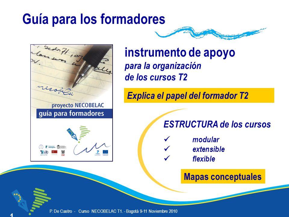 P. De Castro - Curso NECOBELAC T1. - Bogotà 9-11 Noviembre 2010 Corso NECOBELAC T1. - Roma 18-20 ottobre 2010 10 Guía para los formadores instrumento