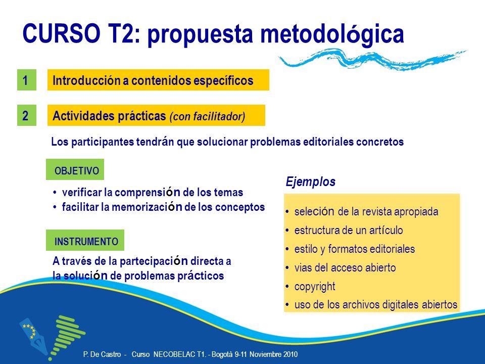 P. De Castro - Curso NECOBELAC T1. - Bogotà 9-11 Noviembre 2010 Corso NECOBELAC T1. - Roma 18-20 ottobre 2010 15 CURSO T2: propuesta metodol ó gica Ac