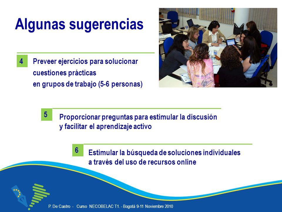 P. De Castro - Curso NECOBELAC T1. - Bogotà 9-11 Noviembre 2010 Corso NECOBELAC T1. - Roma 18-20 ottobre 2010 18 Algunas sugerencias Estimular la búsq