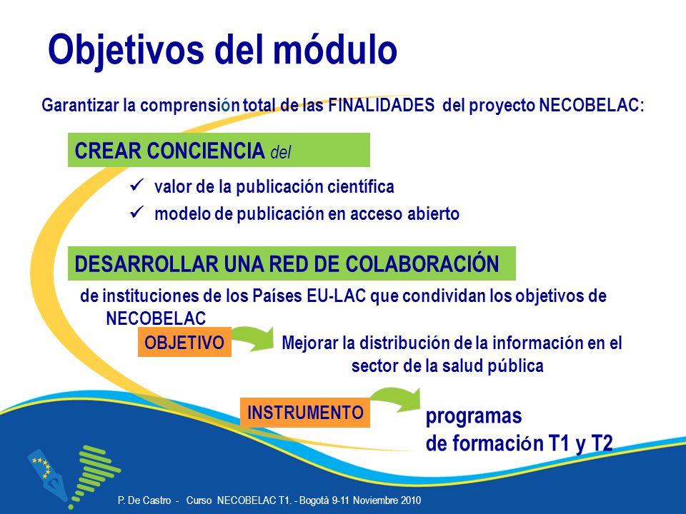 P. De Castro - Curso NECOBELAC T1. - Bogotà 9-11 Noviembre 2010 Corso NECOBELAC T1. - Roma 18-20 ottobre 2010 Objetivos del módulo valor de la publica