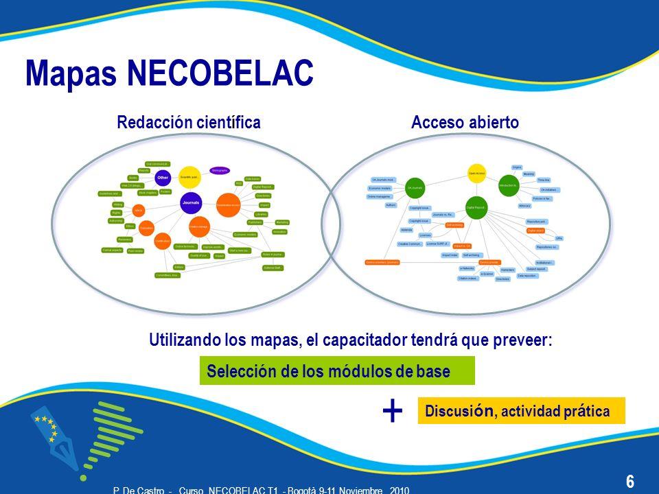 P. De Castro - Curso NECOBELAC T1. - Bogotà 9-11 Noviembre 2010 Mapas NECOBELAC Redacción científica 6 Acceso abierto Selección de los módulos de base
