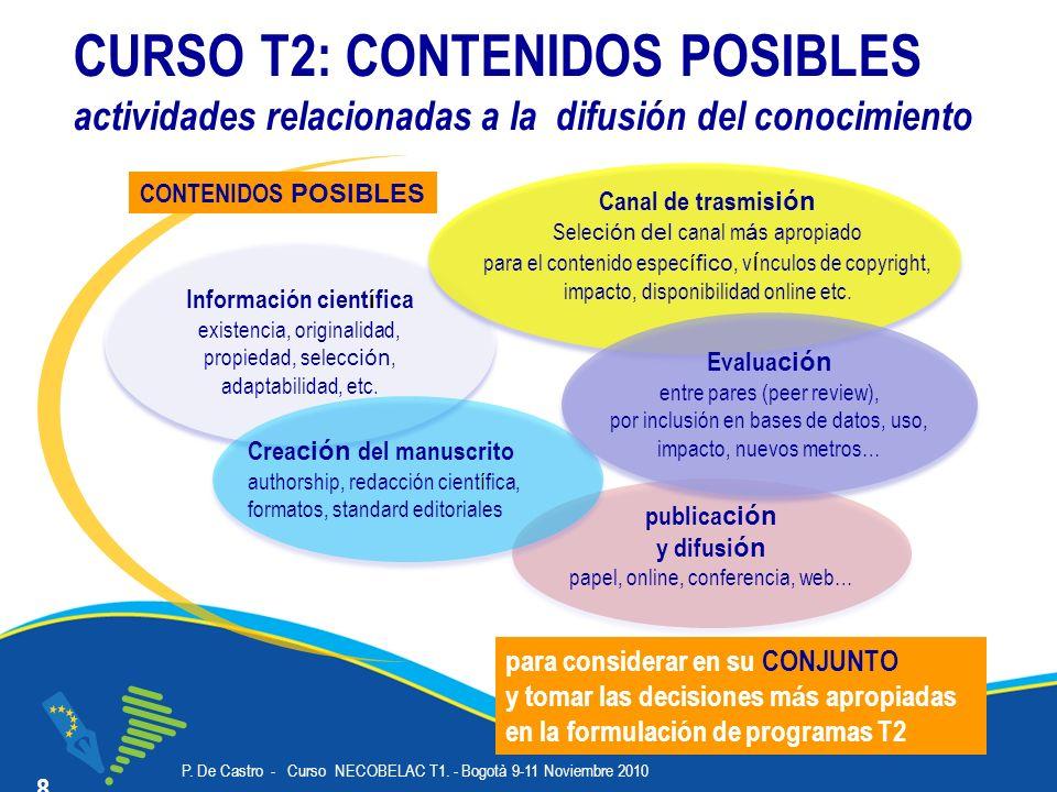 P. De Castro - Curso NECOBELAC T1. - Bogotà 9-11 Noviembre 2010 Corso NECOBELAC T1. - Roma 18-20 ottobre 2010 publica ción y difusi ón papel, online,