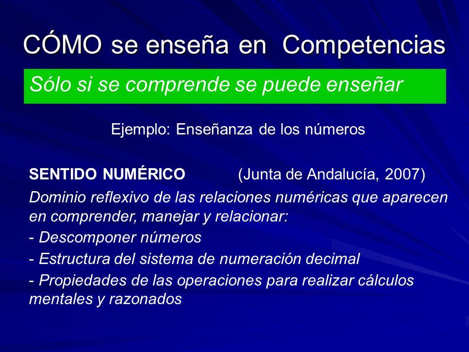 CÓMO se enseña en Competencias Sólo si se comprende se puede enseñar Ejemplo: Enseñanza de los números SENTIDO NUMÉRICO (Junta de Andalucía, 2007) Dominio reflexivo de las relaciones numéricas que aparecen en comprender, manejar y relacionar: - Descomponer números - Estructura del sistema de numeración decimal - Propiedades de las operaciones para realizar cálculos mentales y razonados