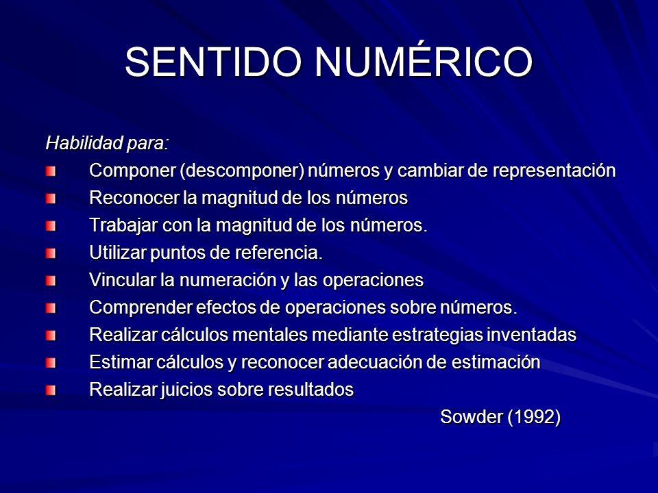 SENTIDO NUMÉRICO Habilidad para: Componer (descomponer) números y cambiar de representación Reconocer la magnitud de los números Trabajar con la magnitud de los números.