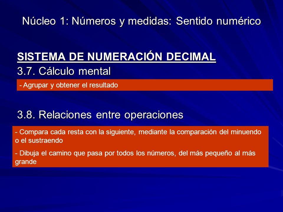 Núcleo 1: Números y medidas: Sentido numérico SISTEMA DE NUMERACIÓN DECIMAL 3.7.