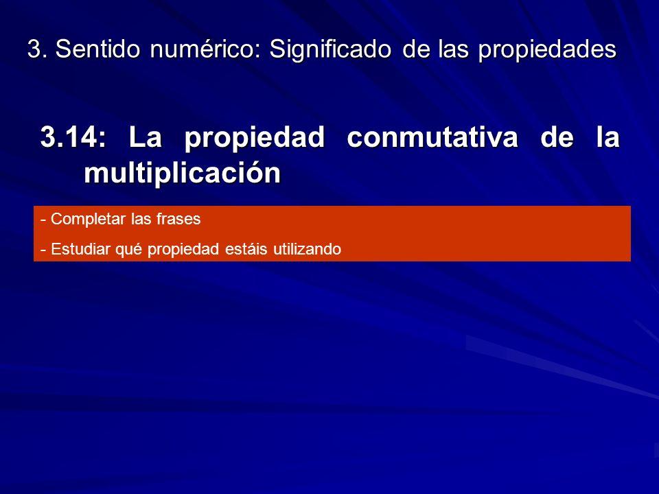 3. Sentido numérico: Significado de las propiedades 3.14: La propiedad conmutativa de la multiplicación - Completar las frases - Estudiar qué propieda