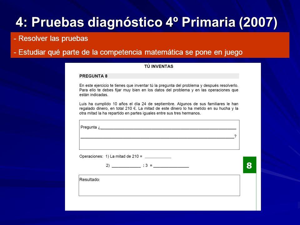 4: Pruebas diagnóstico 4º Primaria (2007) - Resolver las pruebas - Estudiar qué parte de la competencia matemática se pone en juego
