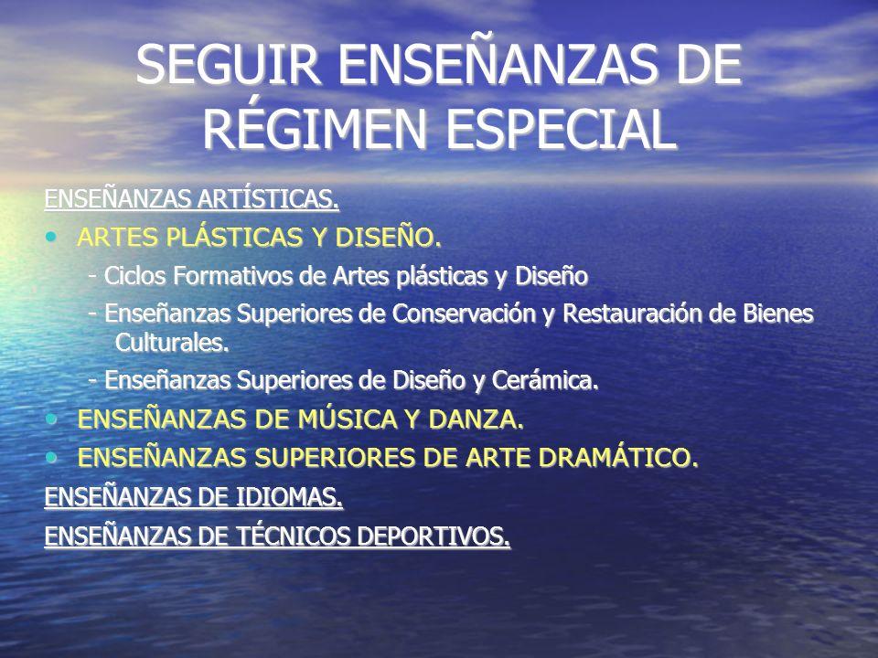 SEGUIR ENSEÑANZAS DE RÉGIMEN ESPECIAL ENSEÑANZAS ARTÍSTICAS.