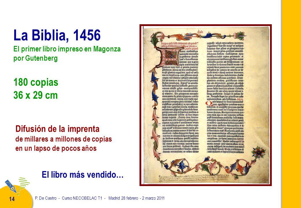 P. De Castro - Curso NECOBELAC T1 - Madrid 28 febrero - 2 marzo 2011 14 La Biblia, 1456 El primer libro impreso en Magonza por Gutenberg 180 copias 36