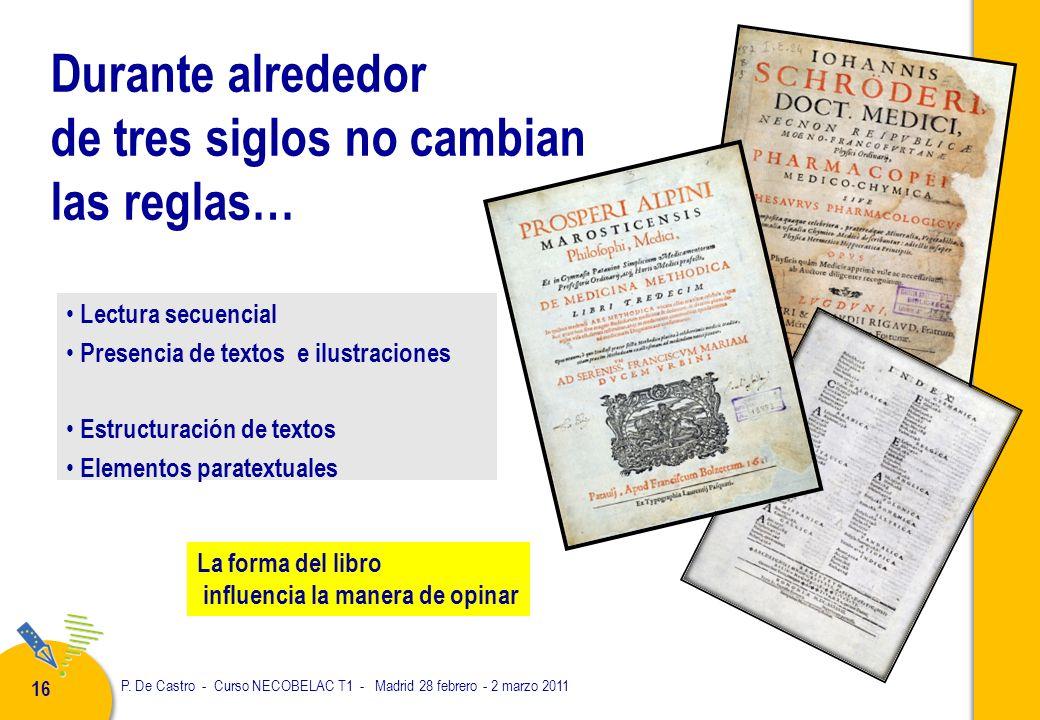 P. De Castro - Curso NECOBELAC T1 - Madrid 28 febrero - 2 marzo 2011 16 Durante alrededor de tres siglos no cambian las reglas… Lectura secuencial Pre