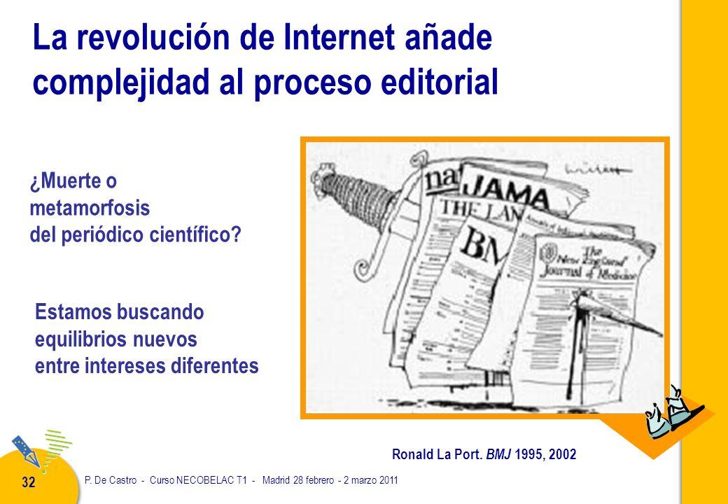 P. De Castro - Curso NECOBELAC T1 - Madrid 28 febrero - 2 marzo 2011 32 La revolución de Internet añade complejidad al proceso editorial Ronald La Por