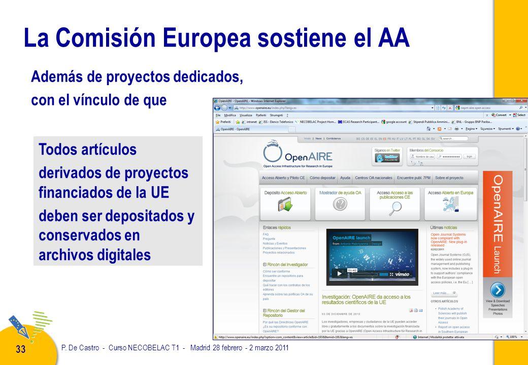 P. De Castro - Curso NECOBELAC T1 - Madrid 28 febrero - 2 marzo 2011 33 La Comisión Europea sostiene el AA Todos artículos derivados de proyectos fina