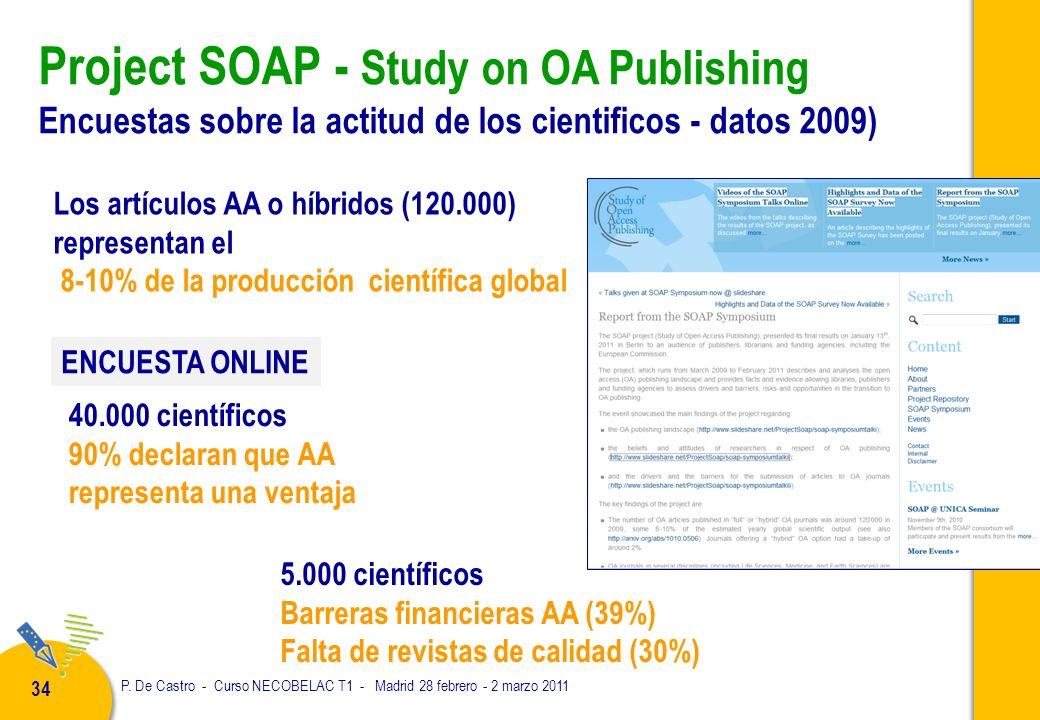 P. De Castro - Curso NECOBELAC T1 - Madrid 28 febrero - 2 marzo 2011 34 Project SOAP - Study on OA Publishing Encuestas sobre la actitud de los cienti