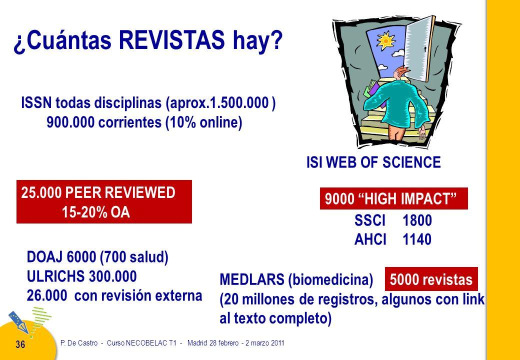 P. De Castro - Curso NECOBELAC T1 - Madrid 28 febrero - 2 marzo 2011 36 ¿Cuántas REVISTAS hay.
