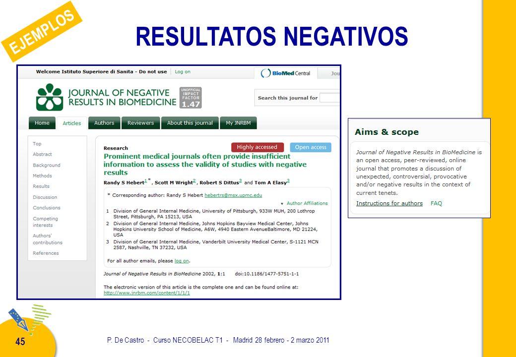 P. De Castro - Curso NECOBELAC T1 - Madrid 28 febrero - 2 marzo 2011 45 RESULTATOS NEGATIVOS EJEMPLOS