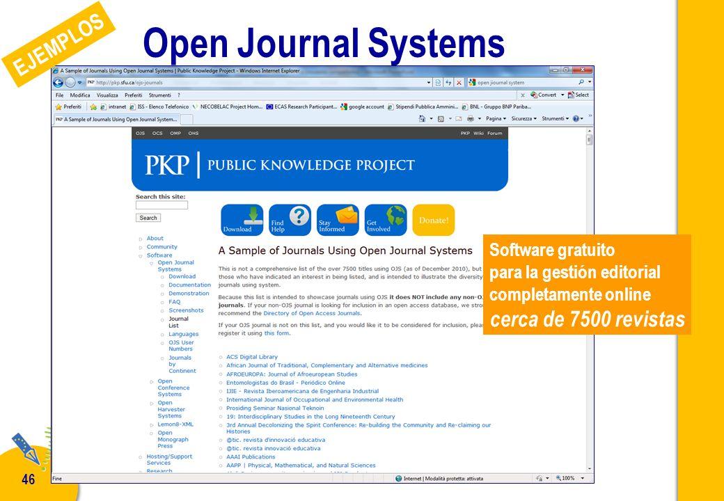 P. De Castro - Curso NECOBELAC T1 - Madrid 28 febrero - 2 marzo 2011 46 Open Journal Systems Software gratuito para la gestión editorial completamente