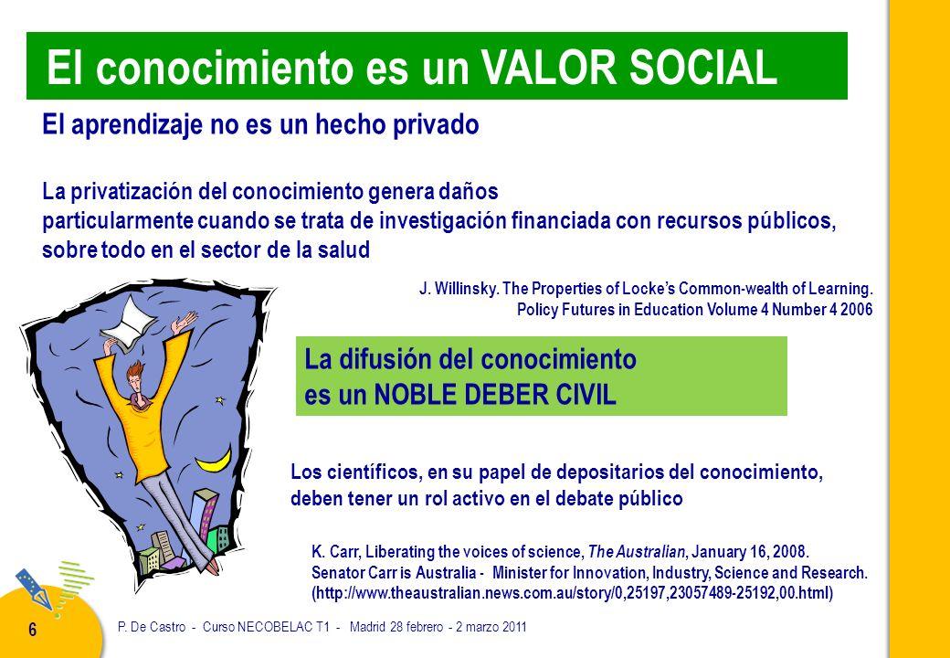 P. De Castro - Curso NECOBELAC T1 - Madrid 28 febrero - 2 marzo 2011 6 El aprendizaje no es un hecho privado La privatización del conocimiento genera