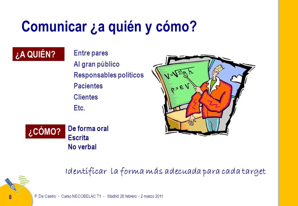 P. De Castro - Curso NECOBELAC T1 - Madrid 28 febrero - 2 marzo 2011 8 Comunicar ¿a quién y cómo.