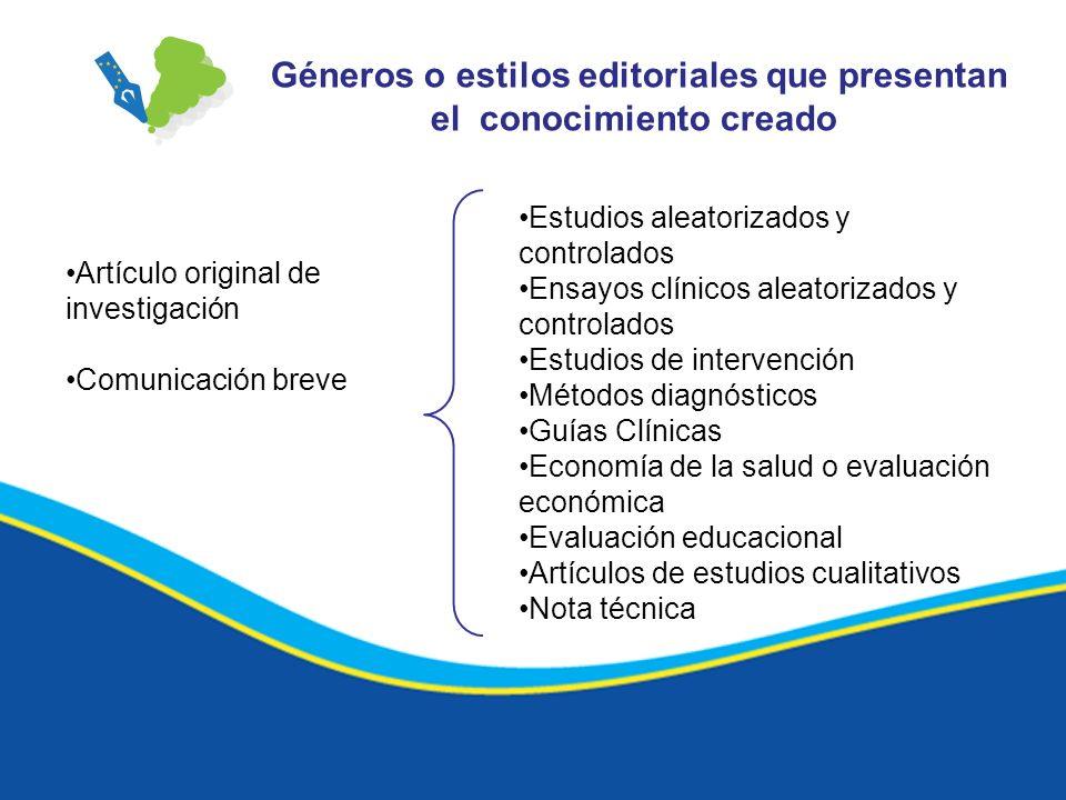 Géneros o estilos editoriales que presentan el conocimiento creado Estudios aleatorizados y controlados Ensayos clínicos aleatorizados y controlados E
