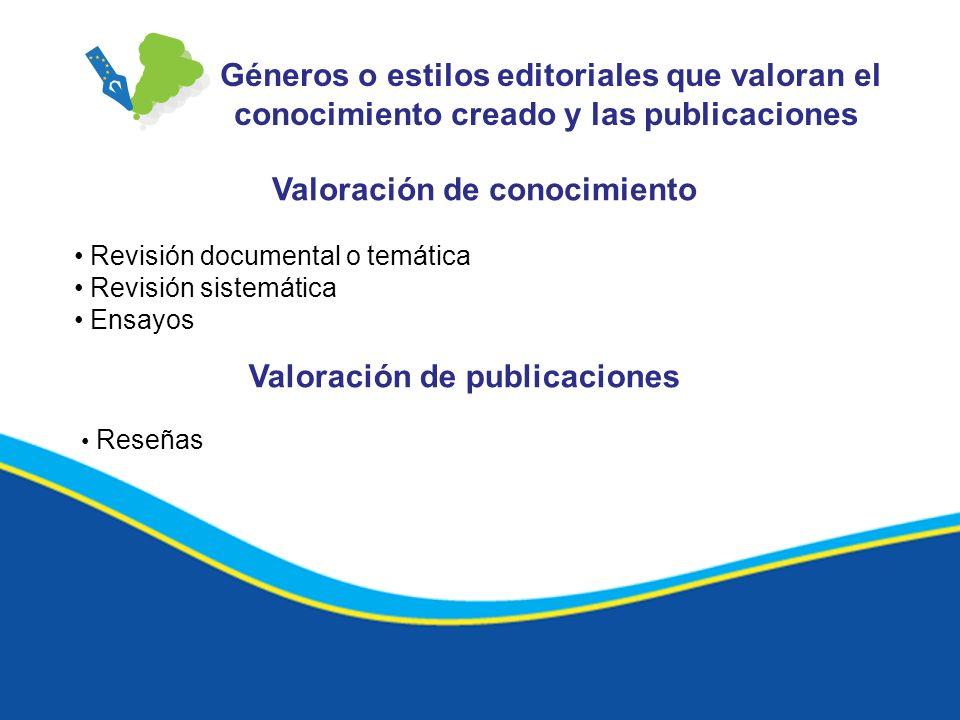 Géneros o estilos editoriales que valoran el conocimiento creado y las publicaciones Valoración de conocimiento Revisión documental o temática Revisió