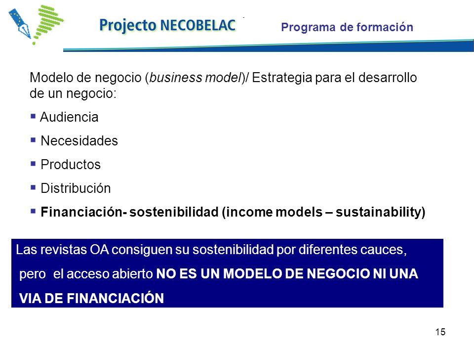 15 Modelo de negocio (business model)/ Estrategia para el desarrollo de un negocio: Audiencia Necesidades Productos Distribución Financiación- sostenibilidad (income models – sustainability) Las revistas OA consiguen su sostenibilidad por diferentes cauces, pero el acceso abierto NO ES UN MODELO DE NEGOCIO NI UNA VIA DE FINANCIACIÓN Programa de formación