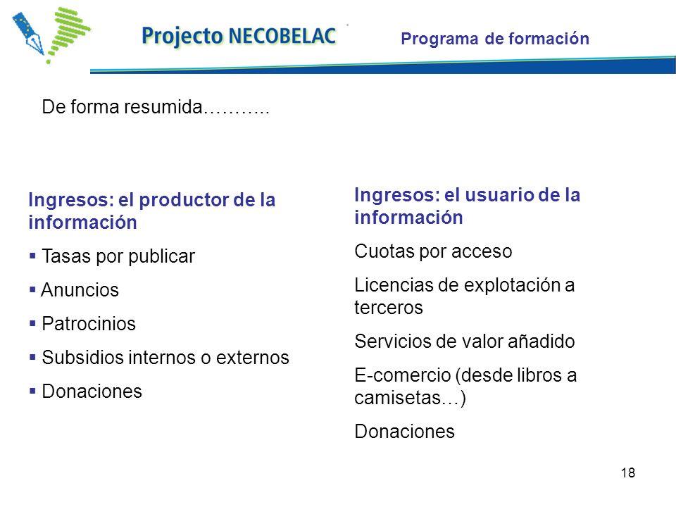 18 Ingresos: el productor de la información Tasas por publicar Anuncios Patrocinios Subsidios internos o externos Donaciones Ingresos: el usuario de l