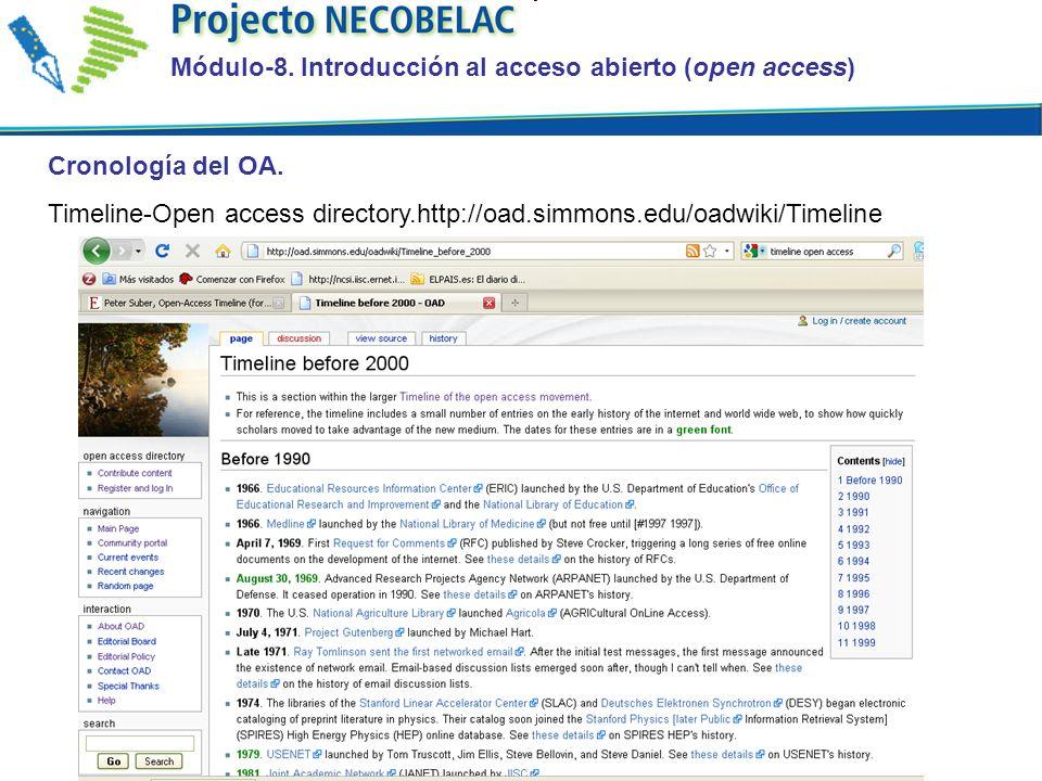 Cronología del OA. Timeline-Open access directory.http://oad.simmons.edu/oadwiki/Timeline Módulo-8.