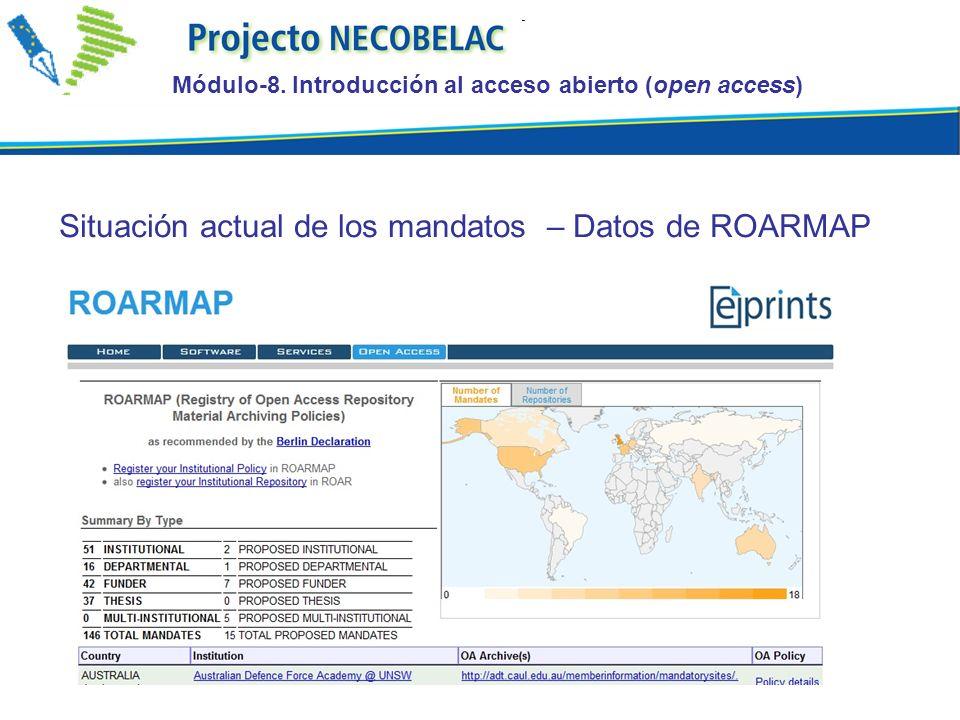 Situación actual de los mandatos – Datos de ROARMAP Módulo-8.