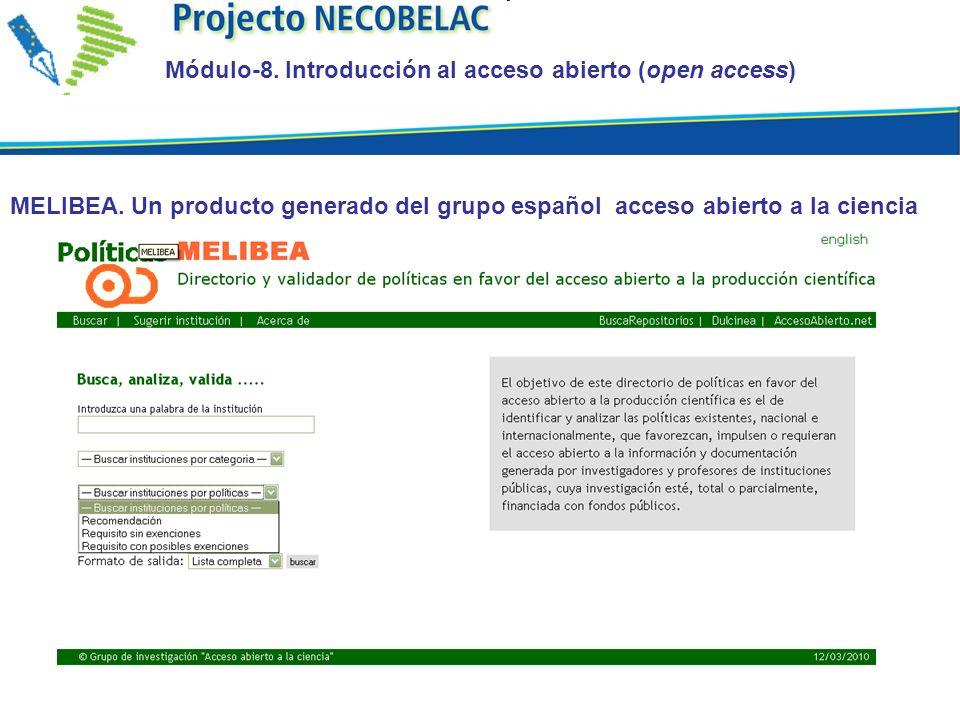 MELIBEA. Un producto generado del grupo español acceso abierto a la ciencia Módulo-8.