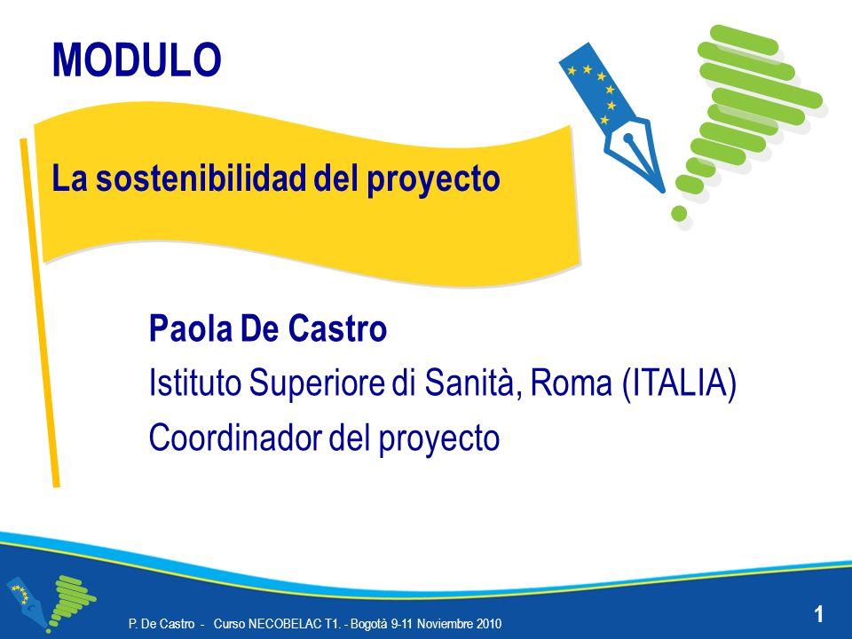 MODULO La sostenibilidad del proyecto Paola De Castro Istituto Superiore di Sanità, Roma (ITALIA) Coordinador del proyecto 1 P.