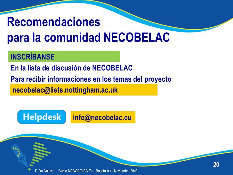 Recomendaciones para la comunidad NECOBELAC INSCRÍBANSE P.