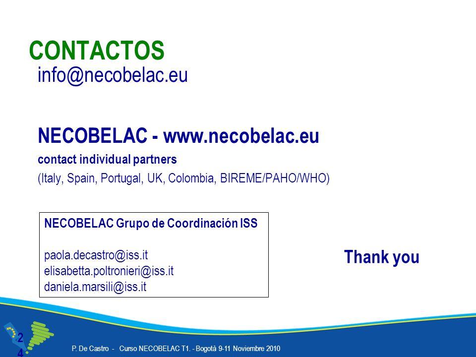 CONTACTOS 24 info@necobelac.eu NECOBELAC - www.necobelac.eu contact individual partners (Italy, Spain, Portugal, UK, Colombia, BIREME/PAHO/WHO) NECOBELAC Grupo de Coordinación ISS paola.decastro@iss.it elisabetta.poltronieri@iss.it daniela.marsili@iss.it Thank you P.