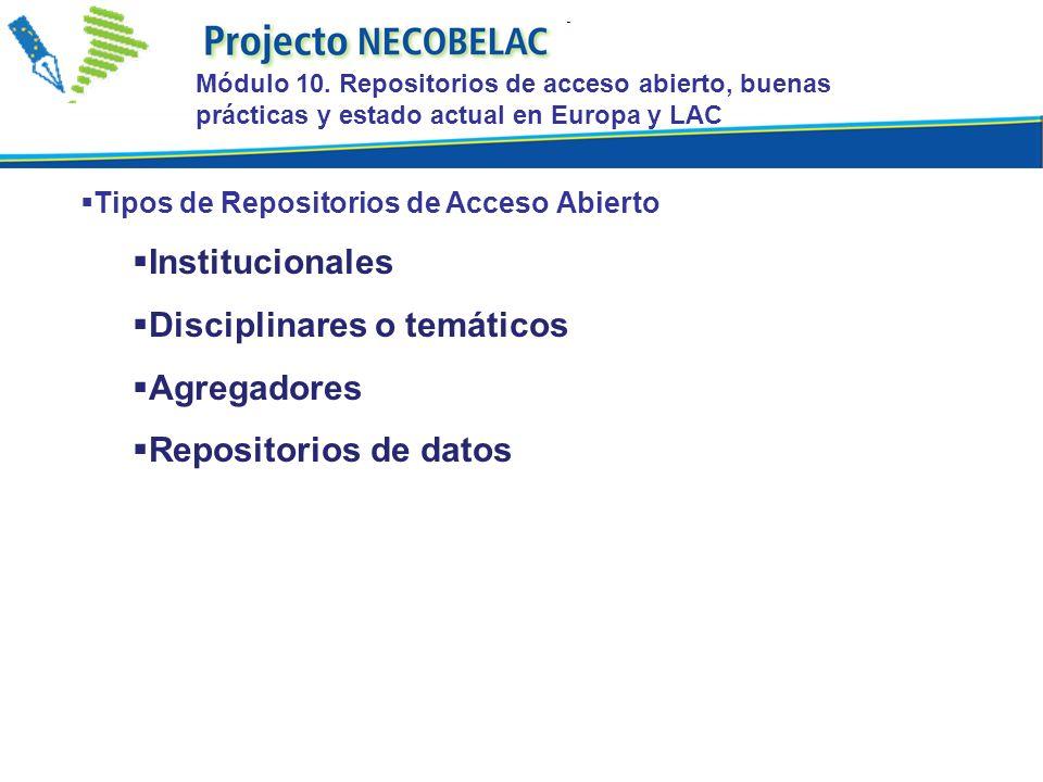 Tipos de Repositorios de Acceso Abierto Institucionales Disciplinares o temáticos Agregadores Repositorios de datos Módulo 10. Repositorios de acceso