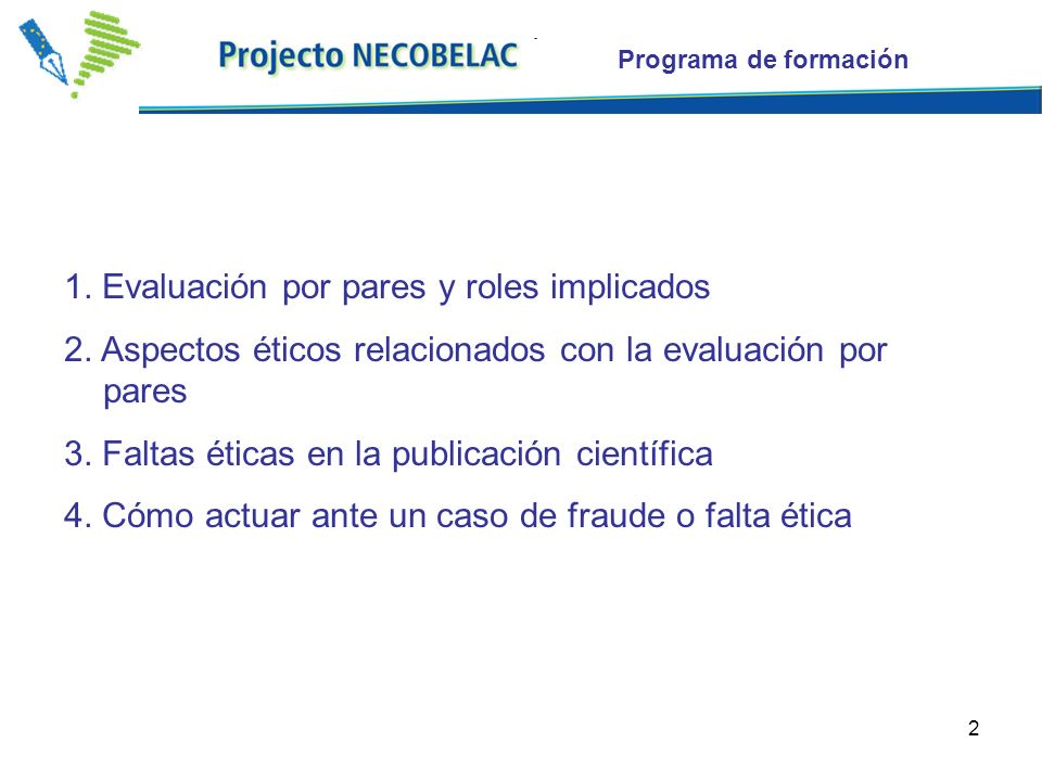 2 Programa de formación 1. Evaluación por pares y roles implicados 2.