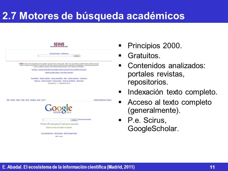 E. Abadal. El ecosistema de la información científica (Madrid, 2011) 11 2.7 Motores de búsqueda académicos Principios 2000. Gratuitos. Contenidos anal