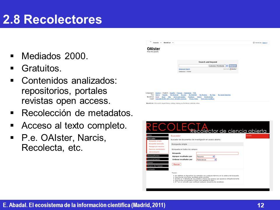 E. Abadal. El ecosistema de la información científica (Madrid, 2011) 12 2.8 Recolectores Mediados 2000. Gratuitos. Contenidos analizados: repositorios