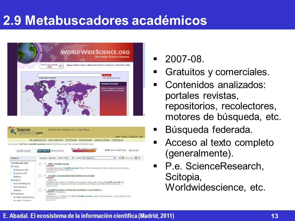 E. Abadal. El ecosistema de la información científica (Madrid, 2011) 13 2.9 Metabuscadores académicos 2007-08. Gratuitos y comerciales. Contenidos ana