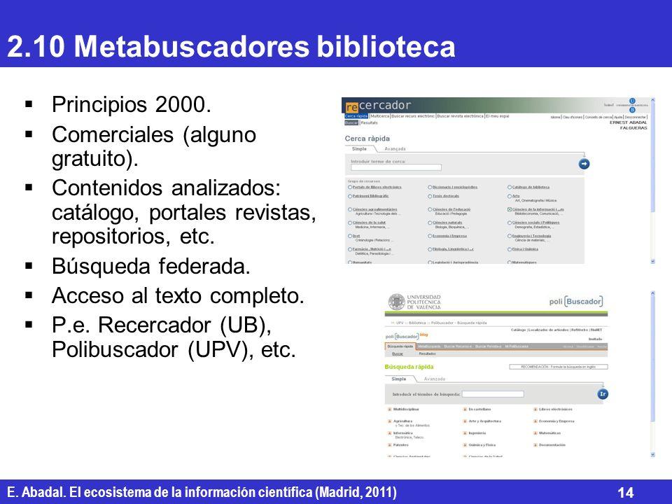E. Abadal. El ecosistema de la información científica (Madrid, 2011) 14 2.10 Metabuscadores biblioteca Principios 2000. Comerciales (alguno gratuito).