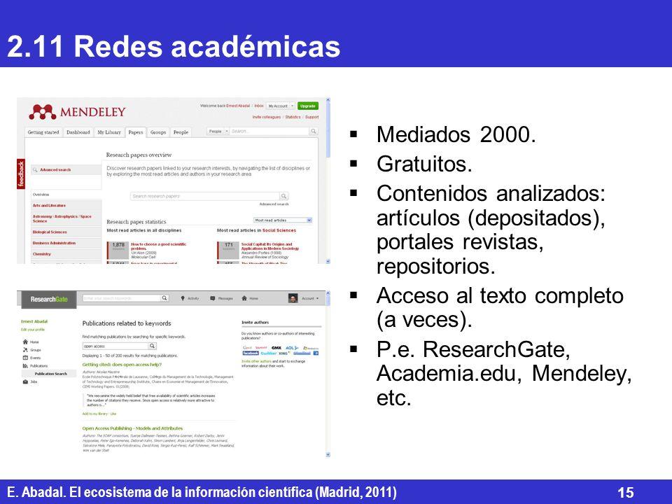 E. Abadal. El ecosistema de la información científica (Madrid, 2011) 15 2.11 Redes académicas Mediados 2000. Gratuitos. Contenidos analizados: artícul