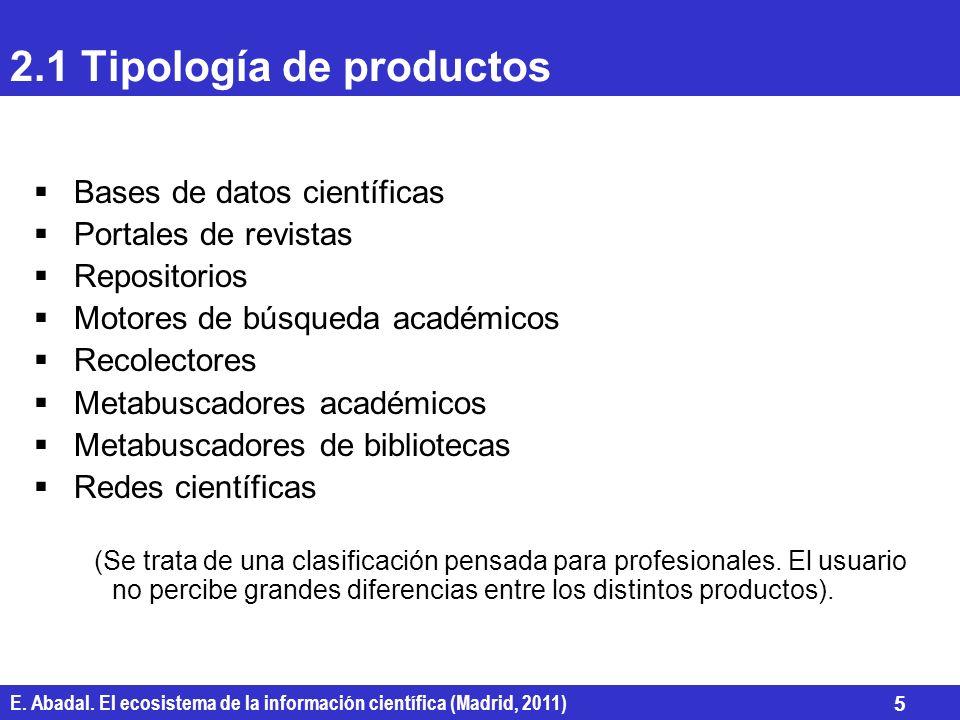 E. Abadal. El ecosistema de la información científica (Madrid, 2011) 5 2.1 Tipología de productos Bases de datos científicas Portales de revistas Repo
