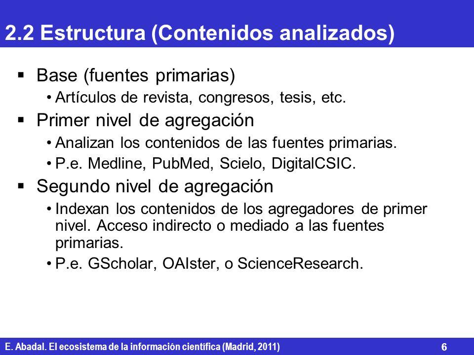 E. Abadal. El ecosistema de la información científica (Madrid, 2011) 6 2.2 Estructura (Contenidos analizados) Base (fuentes primarias) Artículos de re