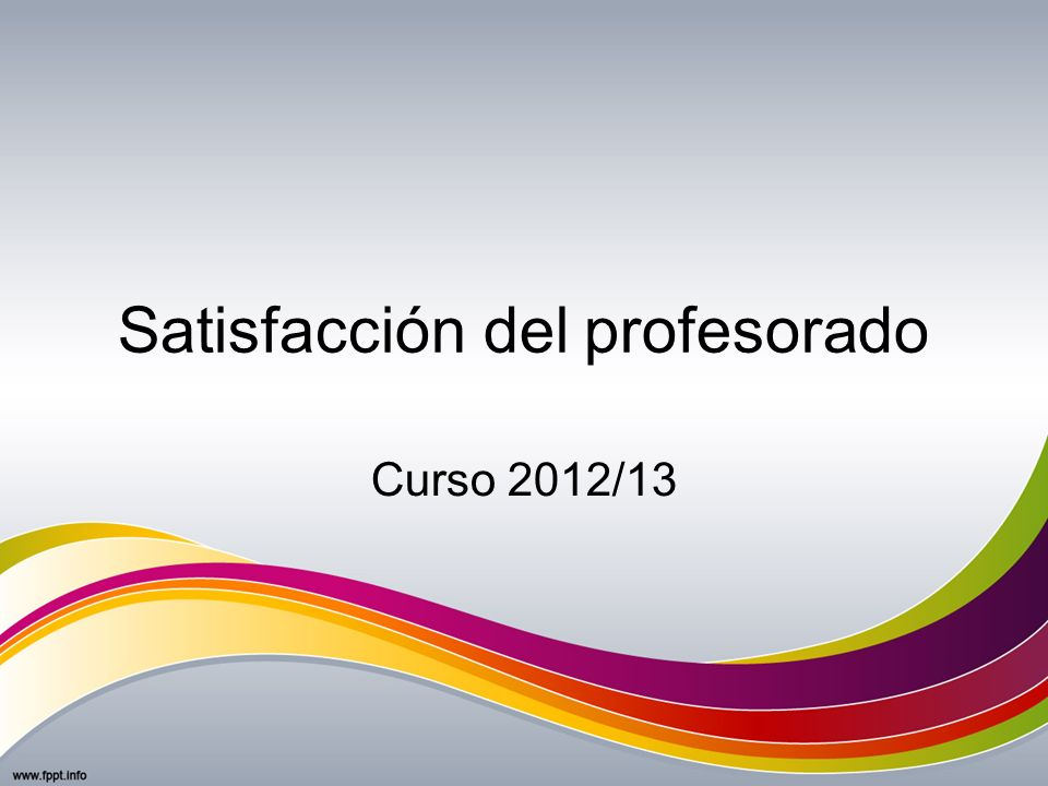 Satisfacción del profesorado Curso 2012/13