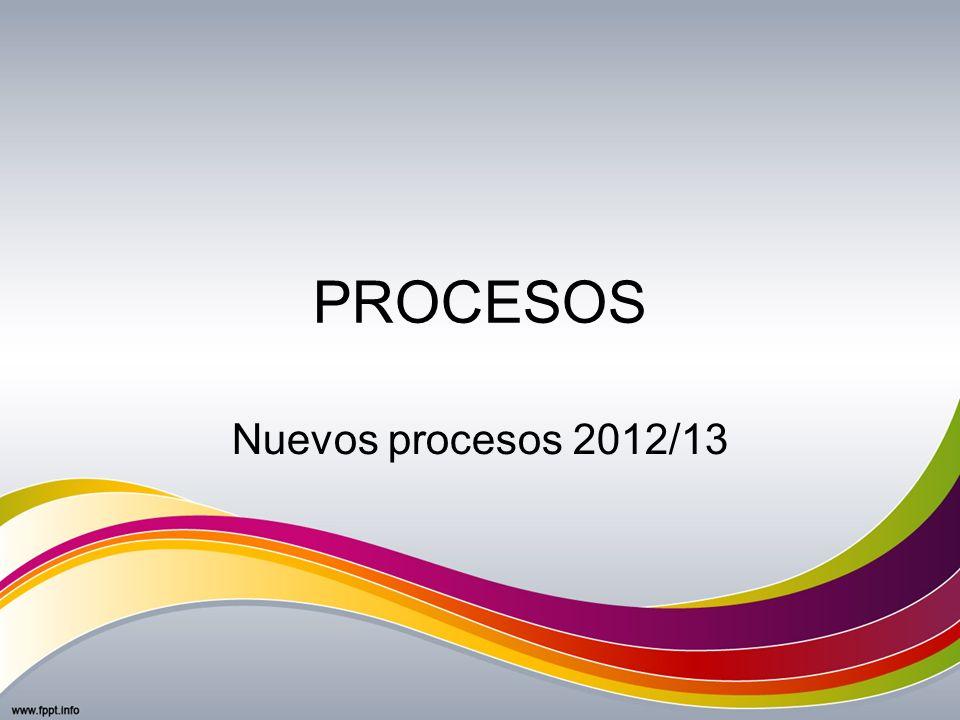 PROCESOS Nuevos procesos 2012/13