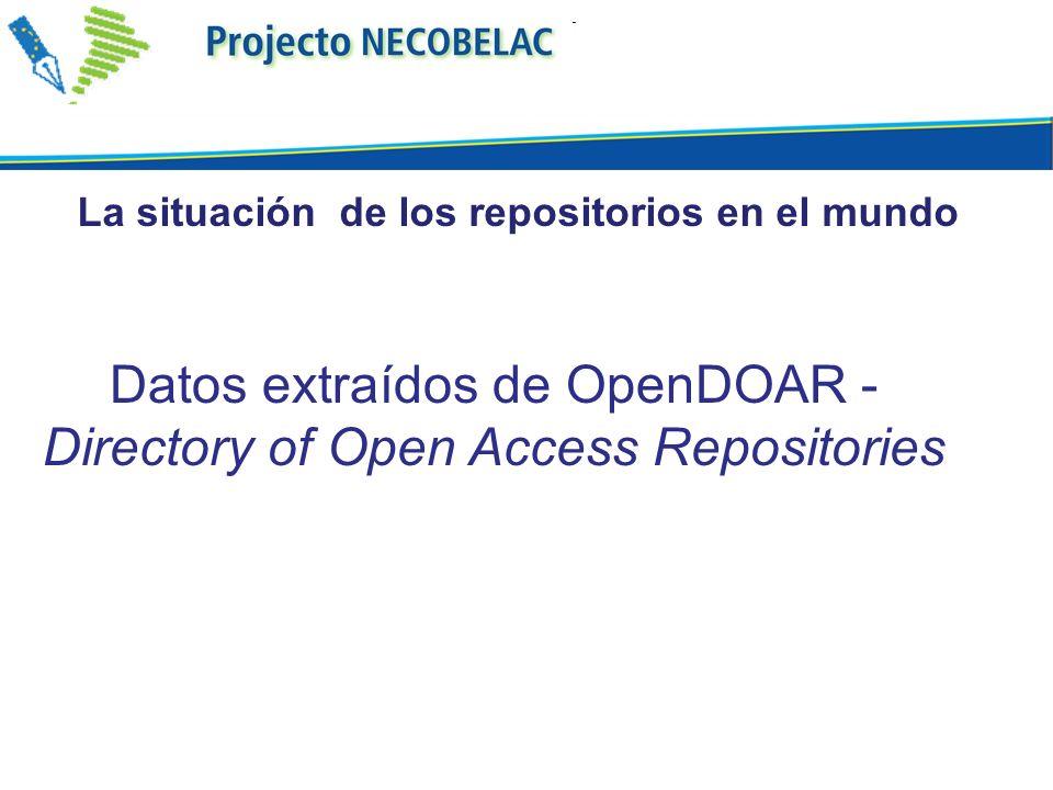 Datos extraídos de OpenDOAR - Directory of Open Access Repositories La situación de los repositorios en el mundo