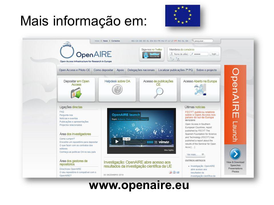 Mais informação em: www.openaire.eu