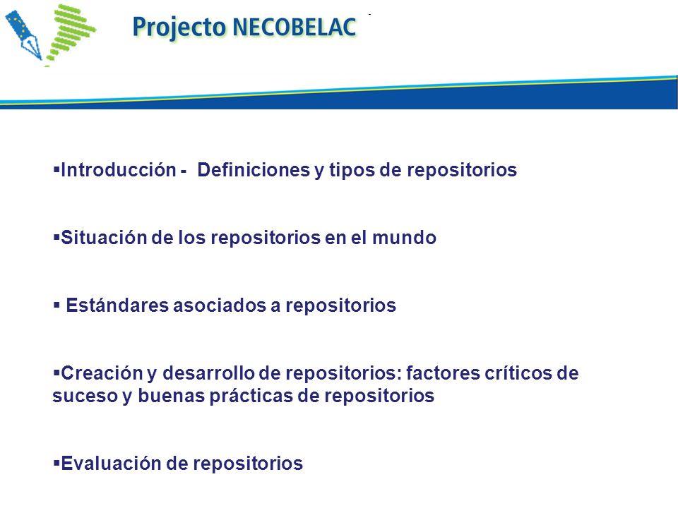 Introducción - Definiciones y tipos de repositorios Situación de los repositorios en el mundo Estándares asociados a repositorios Creación y desarroll