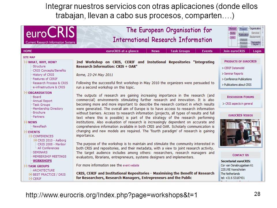 Integrar nuestros servicios con otras aplicaciones (donde ellos trabajan, llevan a cabo sus procesos, comparten….) 28 http://www.eurocris.org/Index.ph