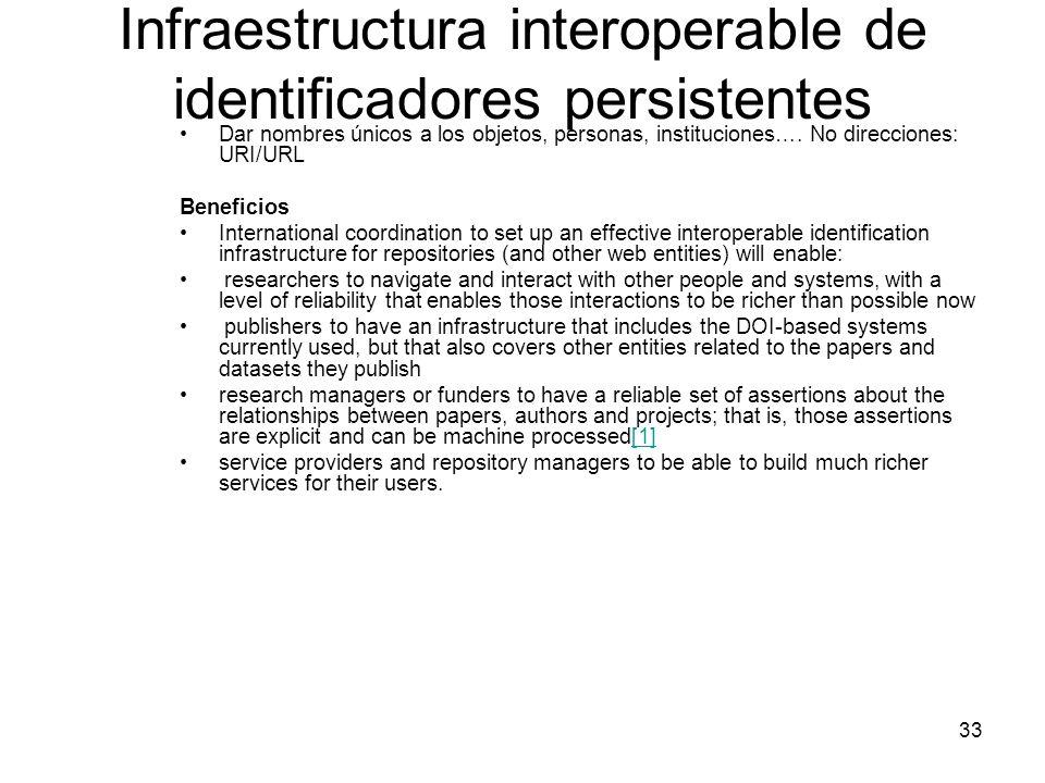 Infraestructura interoperable de identificadores persistentes Dar nombres únicos a los objetos, personas, instituciones…. No direcciones: URI/URL Bene